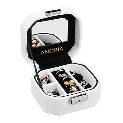 LANGRIA Caja de joyería de Piel sintética en Relieve, Forma Octogonal con Espejo Integrado, con Cerradura, tamaño Compacto, Maquillaje y Accesorios ...