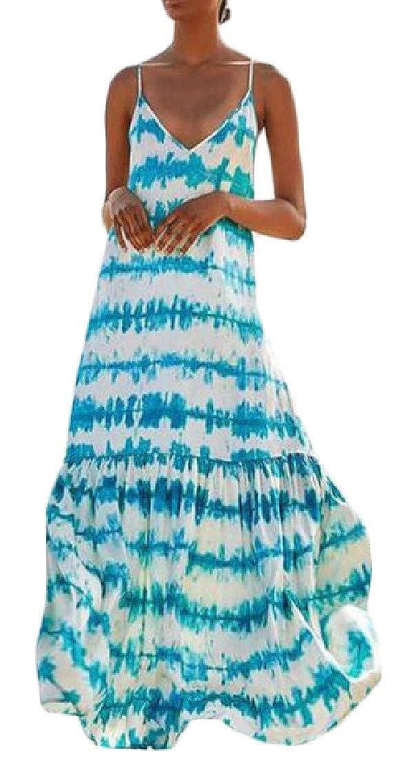 Etecredpow Womens Casual Spaghetti Strap V-Neck Tie Dyed Sundress Backless Maxi Dresses
