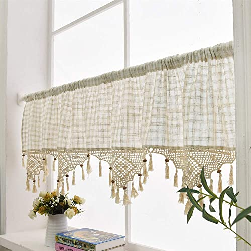 ZHH Retro Style Cotton Linen Lattice and Hand-Crocheted Tassel Splice Window Valance Cafe Curtain 27 by 70-Inch