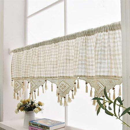 linen cafe curtain european rural style handmade natural cotton rh amazon co uk