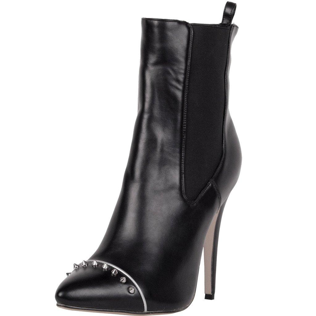 Calaier Damen Catoday High Heels Bequeme Fashion Elegant Herbst Winter Bequemen Stylischen Design Schuhe 12CM Stiletto Schlüpfen Stiefel Schwarz
