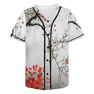 3e5deb69 Amazon.com: INTERESTPRINT Men's Baseball Jersey T-Shirts Plain Button Down  Sports Tee: Clothing