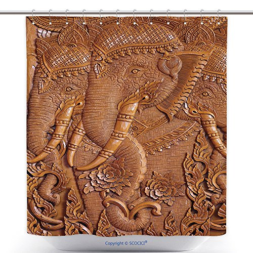 Waterproof Shower Curtains Wood Carving Pattern On The Door Of Thai Temple 471311894 Polyester Bathroom Shower Curtain Set With Hooks