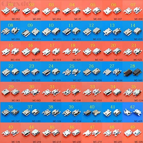 Gimax 50Models 5pin 7P Micro USB jack tail sockect USB Connector charging port for Samsung Lenovo Huawei ZTE HTC ect Tablet PC Color: 50models each 5pcs