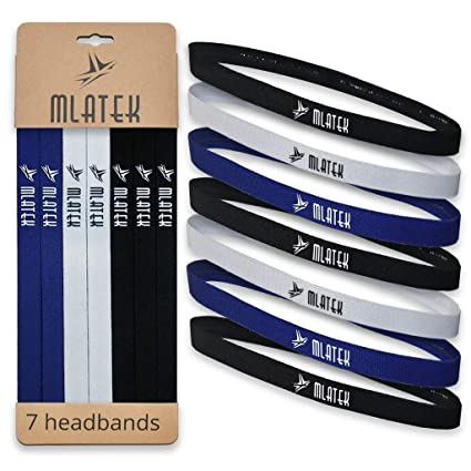 the latest 35dd8 66813 Elastic Sports Headbands - 7 Pack Thin Skinny Bands for Women and Men -  Mini Head