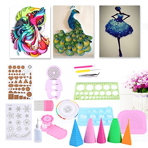 GLOGLOW 1 Set Quilling Paper Rolling Kit, Home Office Decoration Paper Crafts DIY Tools Paper Quilling Set Rust Proof All-in-one quilling kits