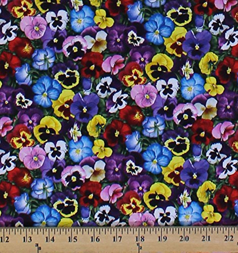 - Cotton Lovely Pansies Pansy Flowers Floral Packed Multi Cotton Fabric Print by the Yard (475-multi)