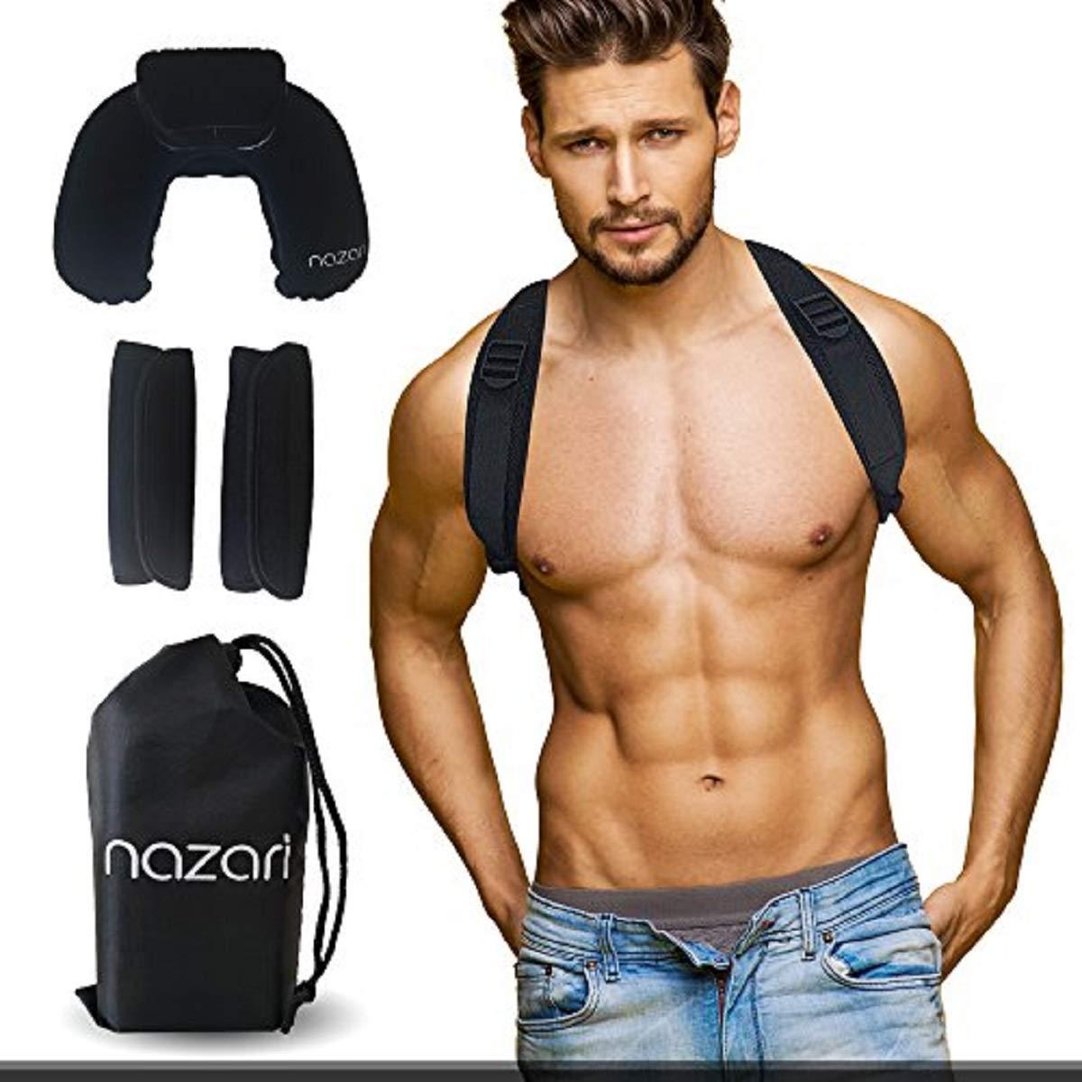 Posture Corrector Women Men - Adjustable Back Brace Support Shoulder Back Neck Pain Relief - Scoliosis Kyphosis Clavicle Brace - Plus Neck Pillow Travel Bag