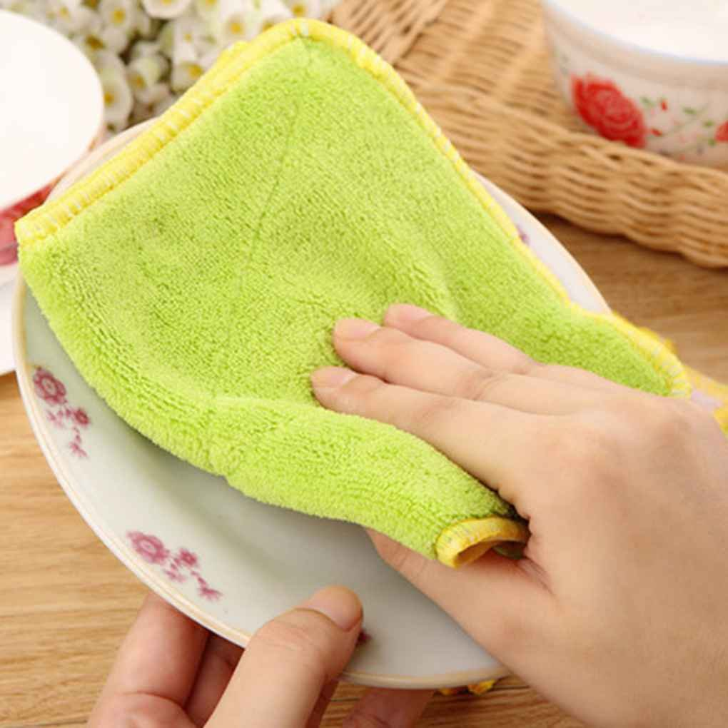 Omkuwl Double-sided Microfiber Dish towels Thickening Cloth Dish Nonstick Oil Absorbent Kitchen Towelsgreen&yellow by Omkuwl (Image #3)