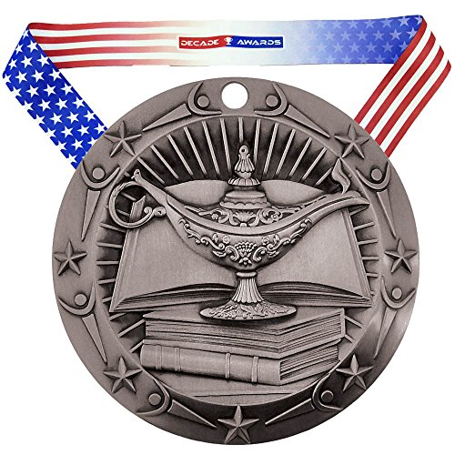 Decade Awards Academic World Class Medal - Silver | WCM Lamp of Knowledge Second Place Award | Includes Stars and Stripes American Flag Neck Ribbon | 3 Inch Wide