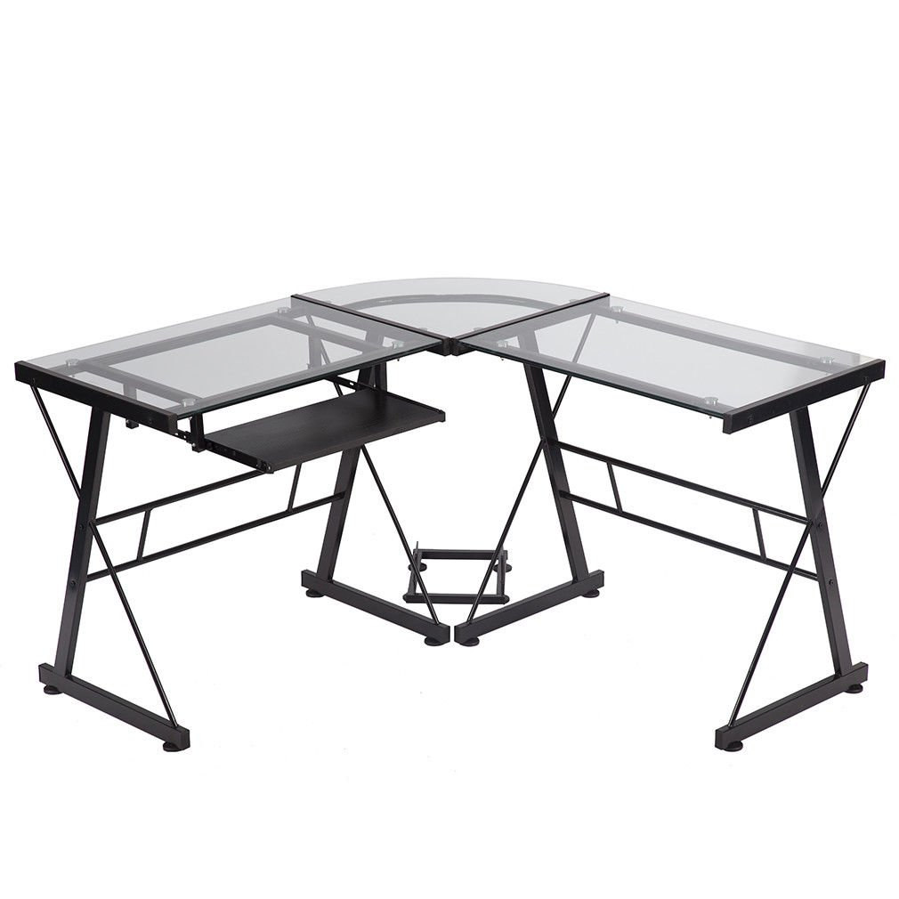 L-Shaped Corner Computer Desk Glass Office Writing Furniture with Keyboard Tray