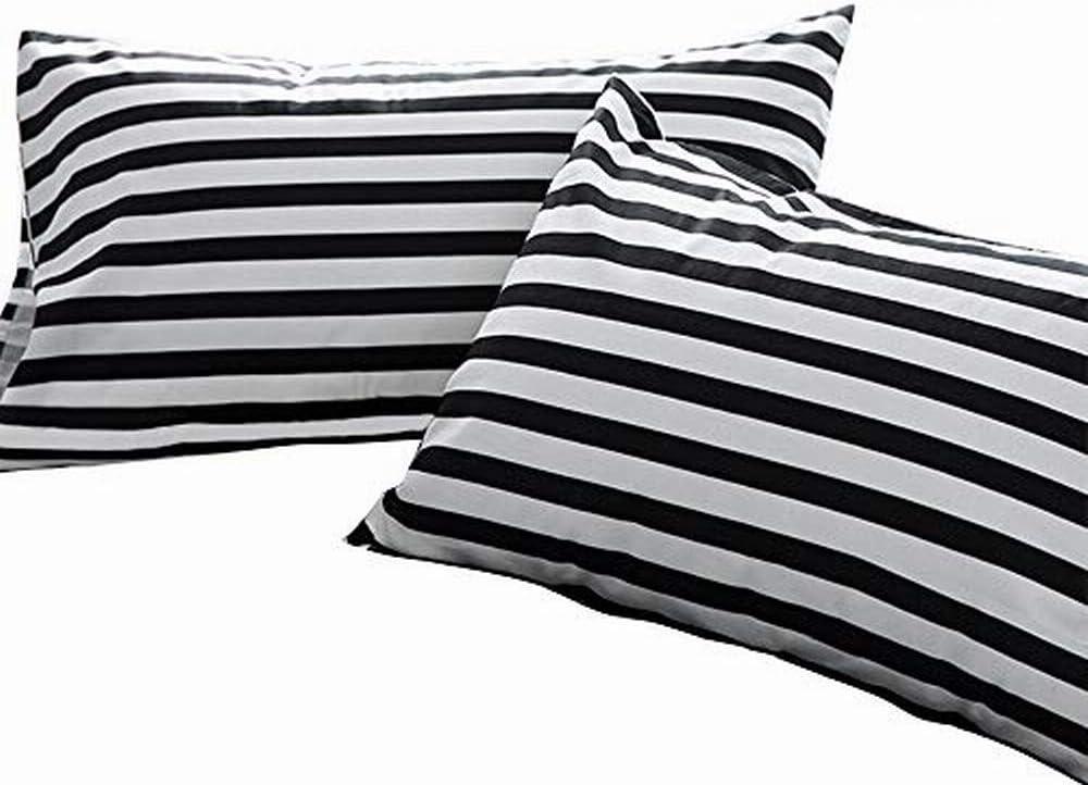 Cottonight Striped Pillow Shams Set of 2 Black and White Stripe Pillowcases Cotton Standard Pillowcases Stripe 2PC Pillow Protector Vertical Stripes Envelope Closure Modern Soft