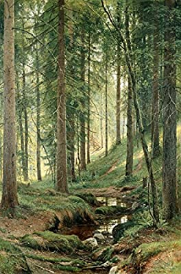 Stream By A Forest Slope by Ivan Shishkin. 100% Hand Painted.Oil On Canvas. Reproduction. (Unframed and Unstretched).
