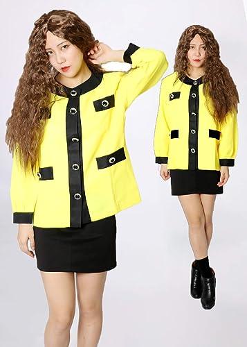 MAKE CHEERFUL バブリーダンス 衣装 バブリー 衣装 余興 男女兼用 4点セット (イエロー, XL)