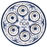 """Passover Seder Plate for Pesach Food Ceramic 12"""" Blue & White Delft Look"""