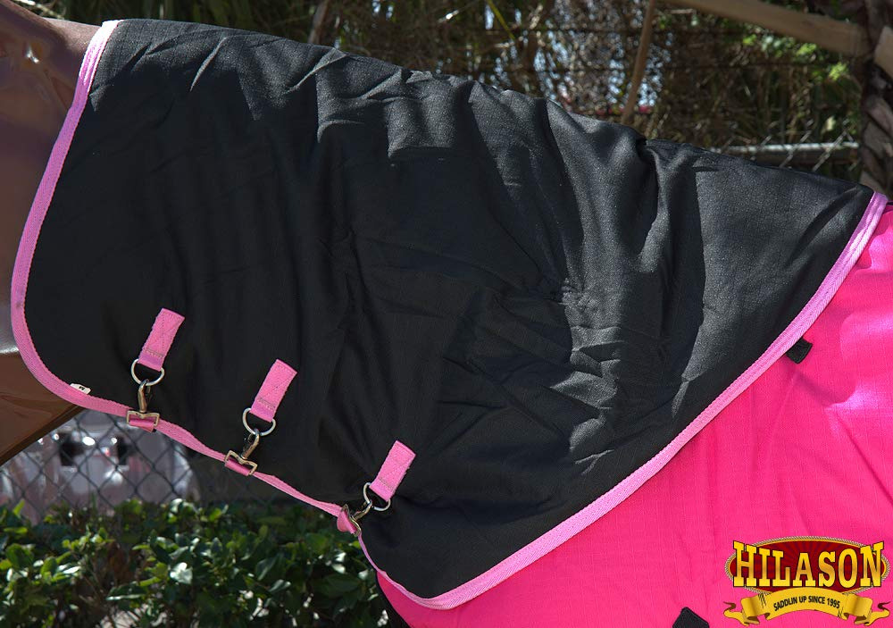 HILASON MED 1200D Winter Waterproof Poly Turnout Horse Hood Neck Cover Pink