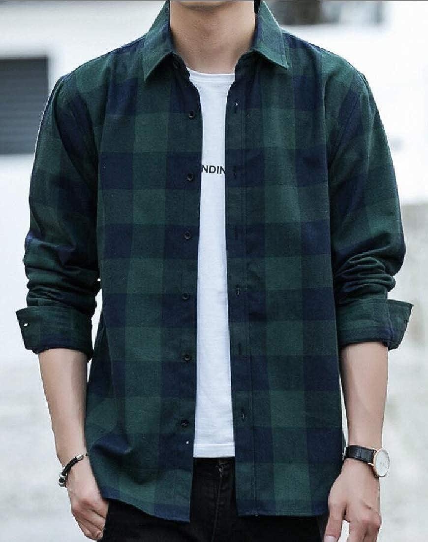 Alion Mens Shirt Long Sleeve Classic Plaid Slim Fit Button Down Dress Shirts