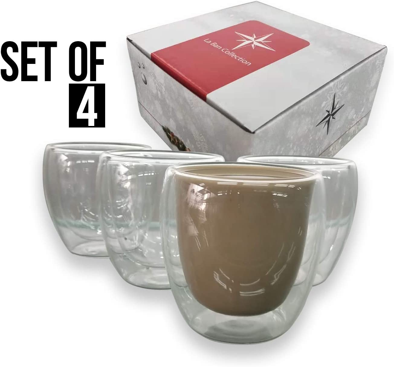Espresso Cup Shot Glass 4 Ounces Double Wall Thermal Insulated 4 in 1 Set With Sleek Gift Box by La Ban Collection Ideal Gift For Easter, Party, House Warming, New Home, Kitchen, Office and Bulk
