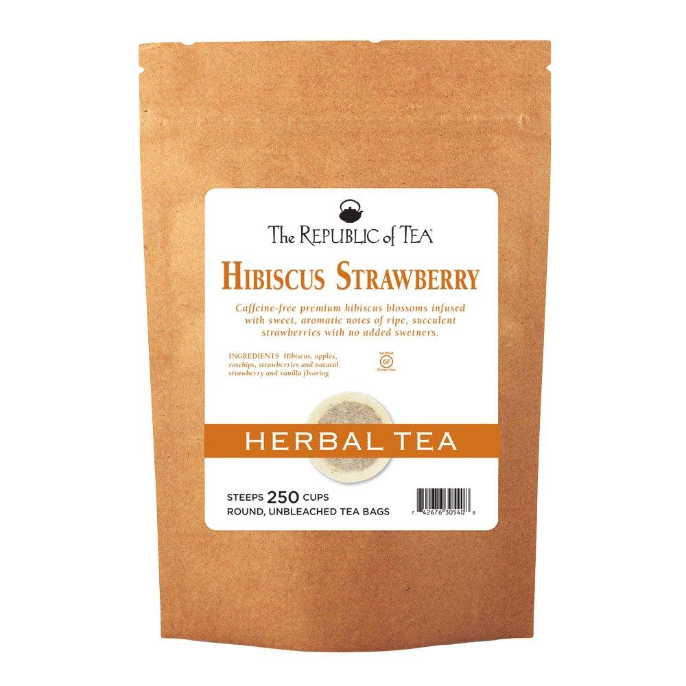 The Republic Of Tea Hibiscus Strawberry Tea, 250 Tea Bags, Fruity Superflower Rosehip Tea