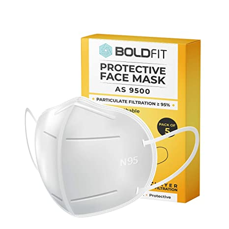 Boldfit N95 mask for face (Pack of 10) Anti Pollution, protective. Third Party Tested by…