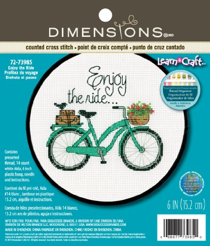 DIMENSIONS ''Enjoy The Ride'' Counted Cross Stitch Kit for Beginners, White 14 Count Aida Cloth, 6'' D