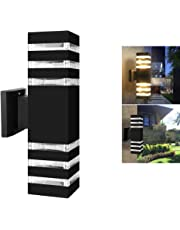Outdoor Wall Sconce LED Lights-Modern Waterproof Up Down Aluminum Cylinder LED Wall Light Fixtures Dual Head Wall Lamp with E27 Socket AC 85-240V for Courtyard Garden Porch Corridor (Cuboid Black)