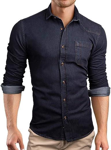 Heetey Camisa para Hombre, Informal, monocromática, con Panel ...