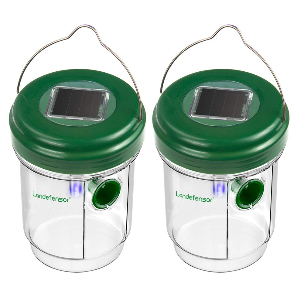 Landefensor Wasp Trap Catcher with Solar Powered Ultraviolet LED Light Set of 2, Effective and Eco-friendly Traps for Wasps, Bees, Yellow Jackets, Hornets, Bugs