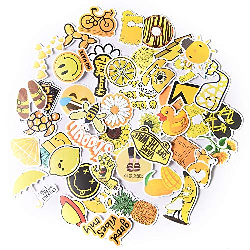Vsco Girls Stickers Cute Trendy AestheticVinyl Water Bottle Sticker 50 PCS Waterproof Decal Graffiti for Laptop Bicycle Guitar, Christmas Kids Love Gift, Yellow