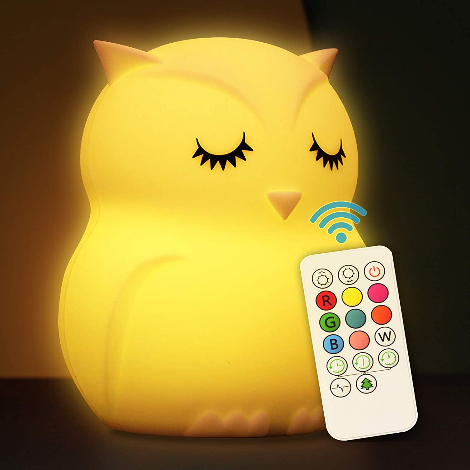 Cute Night Light for Kids Soft Silicone Baby Nursery Night Light with Remote Control Children Bed Room Décor Decoration Teenage Toddler Boys Girls Birthday Gift (Owl)