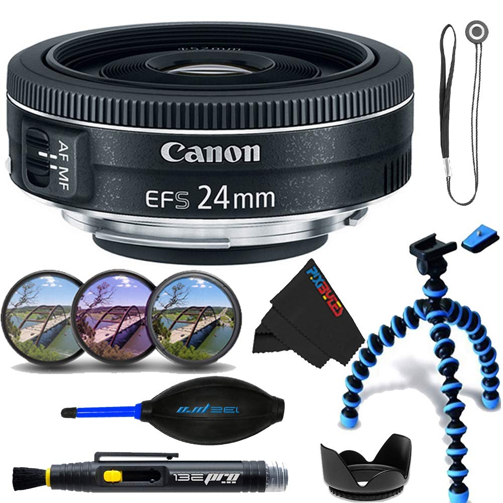 Canon EF-S 24mm f/2.8 STM Lens + Lens Hood + 3 Piece Filter Kit + Cap Keeper + Lens Pen + Dust Blower + Pixibytes Exclusive Microfiber Cleaning Cloth + 10'' Tripod - Full Accessories Bundle
