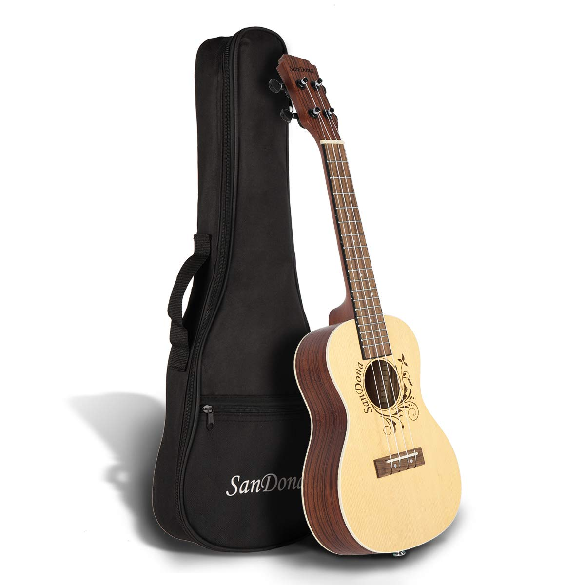 SANDONA Acoustic Electric Concert Ukulele EQ 24 Inch Kit eUKC-141 | Spruce Solid Wood | Under-Saddle Piezo Bridge Pickup, Strap, Aquila Strings, Digital Tuner and Gig bag (Latte)