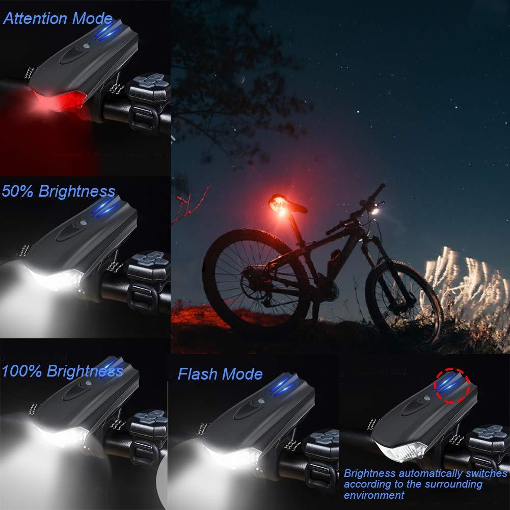 WOSTOO LED Luz Bicicleta, Luces Bicicleta Delantera y Trasera USB Recargable LED Bicicletas Luces, IP65 Resistente con 5 Modes, Faro Delantero superbrillante y luz Trasera para Bicicletas