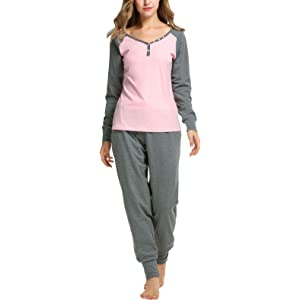 Abollria Women Cotton Pajama Set Henley Top with Plaid Pants Long Sleeve Loungewear Set Sleepwear