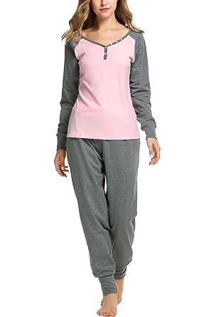 Sweetnight Women s Boat Neck Long Sleeve Shirt Elastic Waist Pants  Sleepwear Pajamas Set (S e663c1543