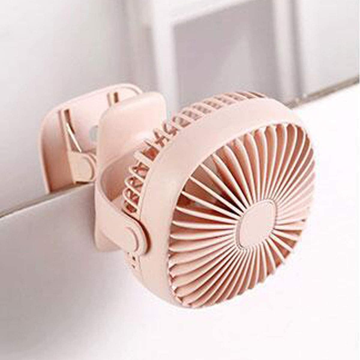 KONGZIR  Night Light Clip Fan Low Noise for Mother and Baby Green Pink 360/° Rotating Air Supply White Color : Pink