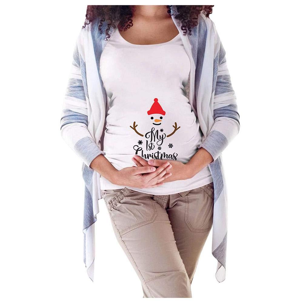 Doublehero Damen Schwanger t Shirt Weihnachten Druck Kurzarm Oberteile Stillshirt Umstandsshirts Casual Tops Mode Mama Kleidung Umstandstunika Schwanger T-Shirt