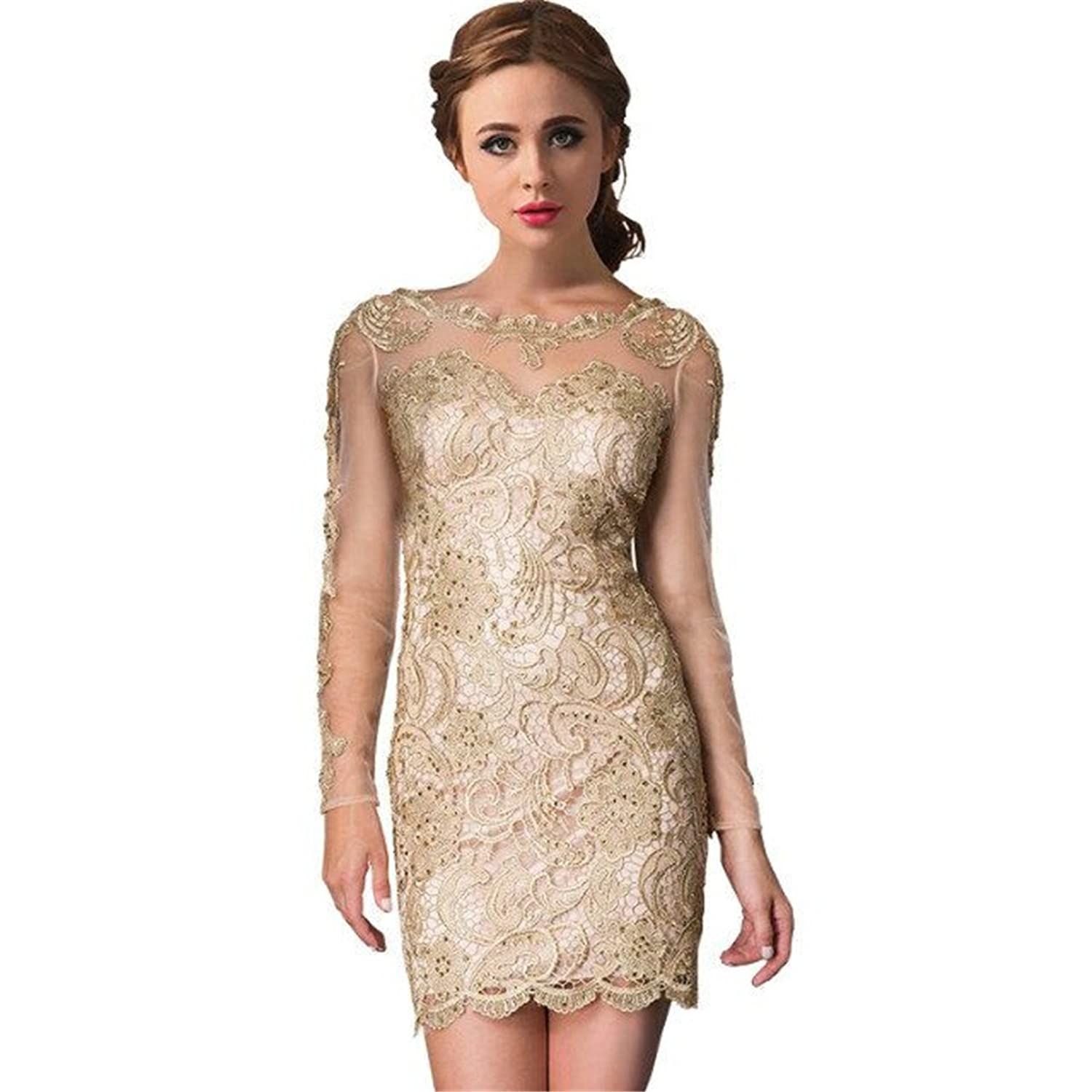 dressvip See through Cocktail Party Mini Dress Long Sleeves Evening Celebrity Gowns for Women