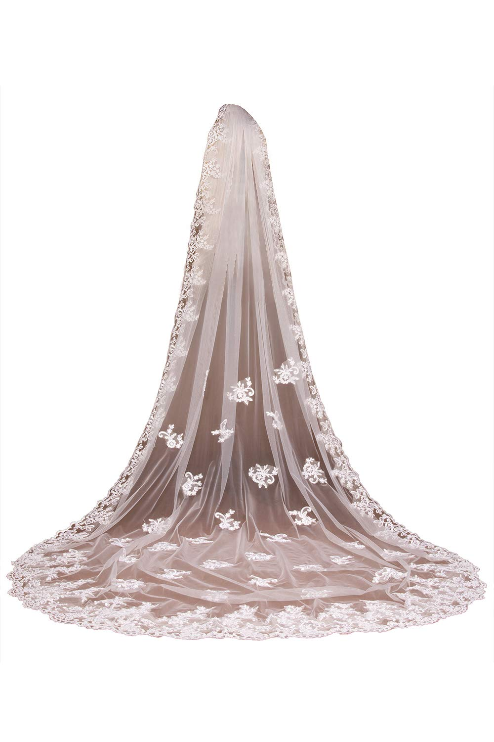 Babyonlinedress Soft Tulle Lace Long Veil For Wedding Brides,Ivory.