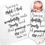 Child Of God Baby Swaddle Blanket, Scripture Blanket, Christening Gift, Baptism Gift, Godchild Gift, Baby Quote Blanket, Christian Baby Gift, Psalm 139, Baby Shower Gift / New Parents Gift
