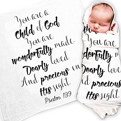"Ocean Drop Designs – White Muslin Swaddle Blankets – Psalm 139 'Child of God' Quote – for Christening, Baptism, Baby Shower, Godchild Gift – 100% Cotton, Breathable – Machine Washable (47""x47"")"