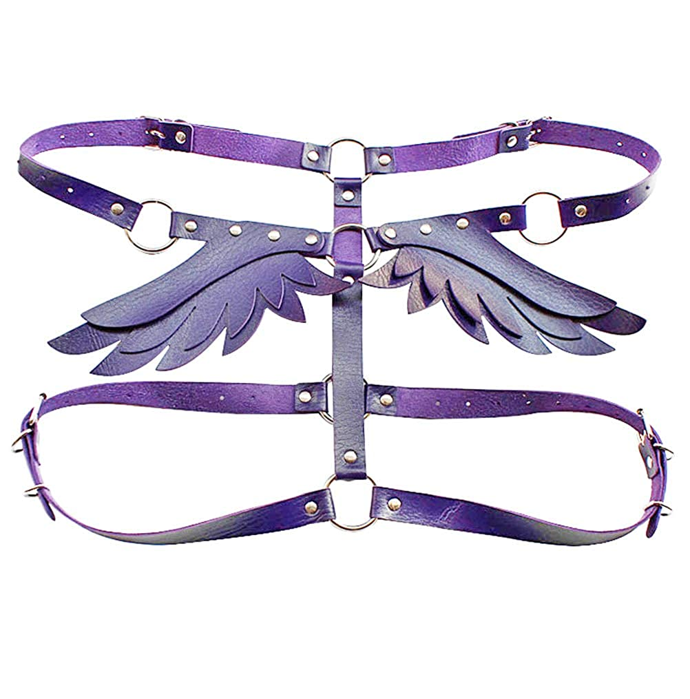 Women Punk Angel Wings Body Chest Harness Waist Belt Suspenders for Rave Festival Halloween Roleplay Costume