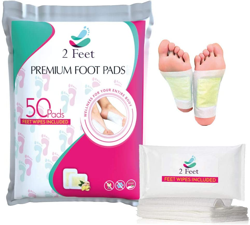 Premium Natural Foot Pads | 50 Patches + Foot Wipes | Organic Ingredients | Stress Relief, Sleep Better, Soothing Aches and Pains, Increased Energy, Enhanced Mental Function, Odor Eliminator, Ginger