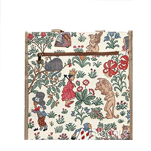 Bolso tapiz Shopper de moda Signare para mujer bolso de hombro (Alice en el país de las maravillas)