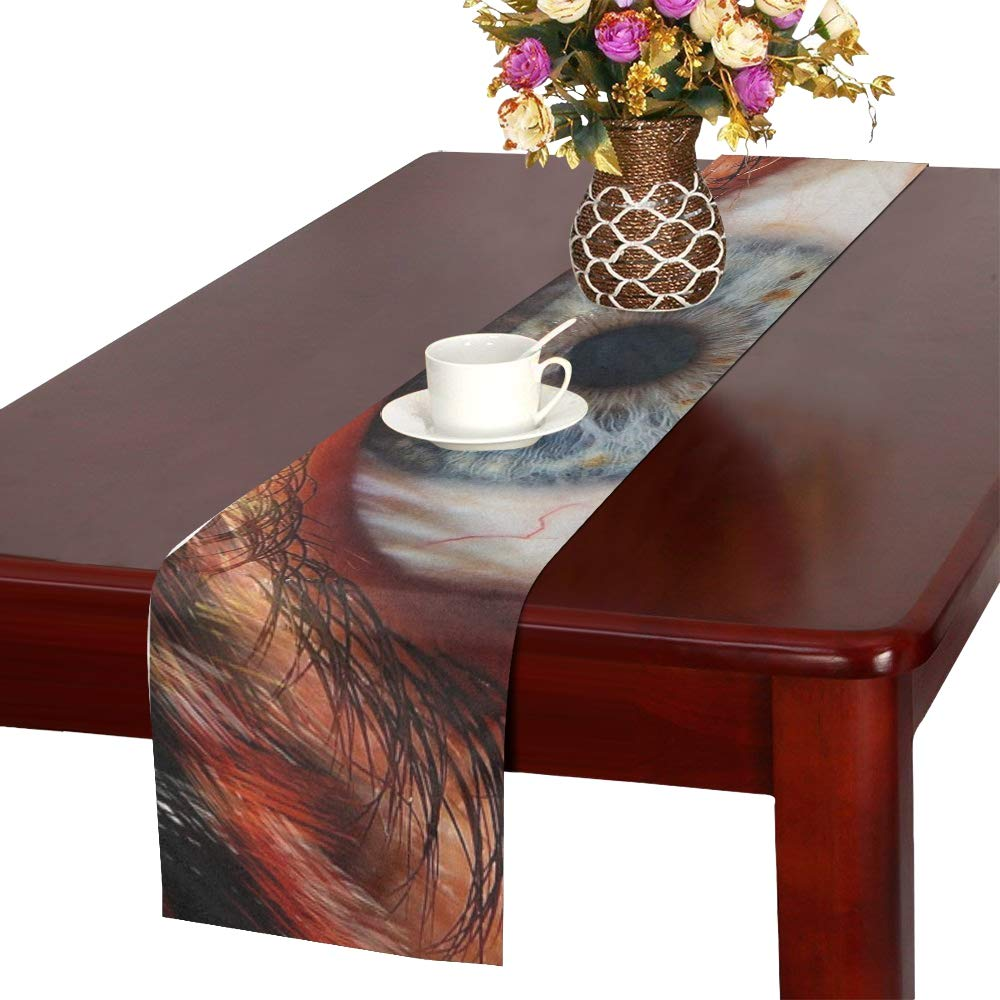 Human Face Fur Animal Fur Werewolf Creepy Horror Table Runner, Kitchen Dining Table Runner 16 X 72 Inch For Dinner Parties, Events, Decor by RYUIFI (Image #1)