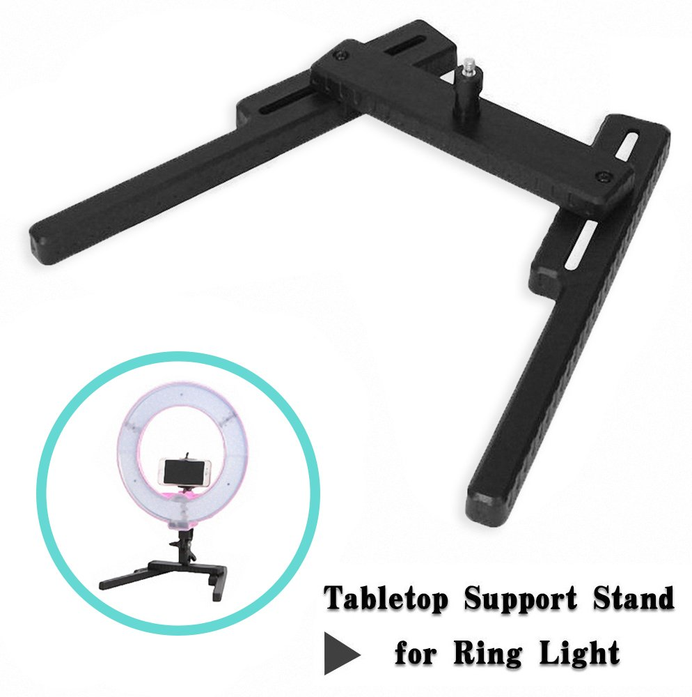 Mekingstudio Lightweight Portable LED Ring Light Desktop Stand Support Cellphone Bracket with 1/4 Screw for Make up, Selfie, Live Webcast, Youtube, Facebook, Ins, Photography Video Shooting light Stand_Black
