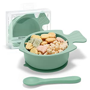 ROCCED Suction Bowls for Baby Spoons and Bowls Silicone BPA Free Baby Feeding Set First Stage Self Training Led Weaning for Toddlers Kids and Babies-Green