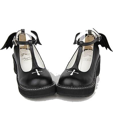9e53ca38c3d Black 50MM Heel Ankle-High Round-Toe Lolita Shoes
