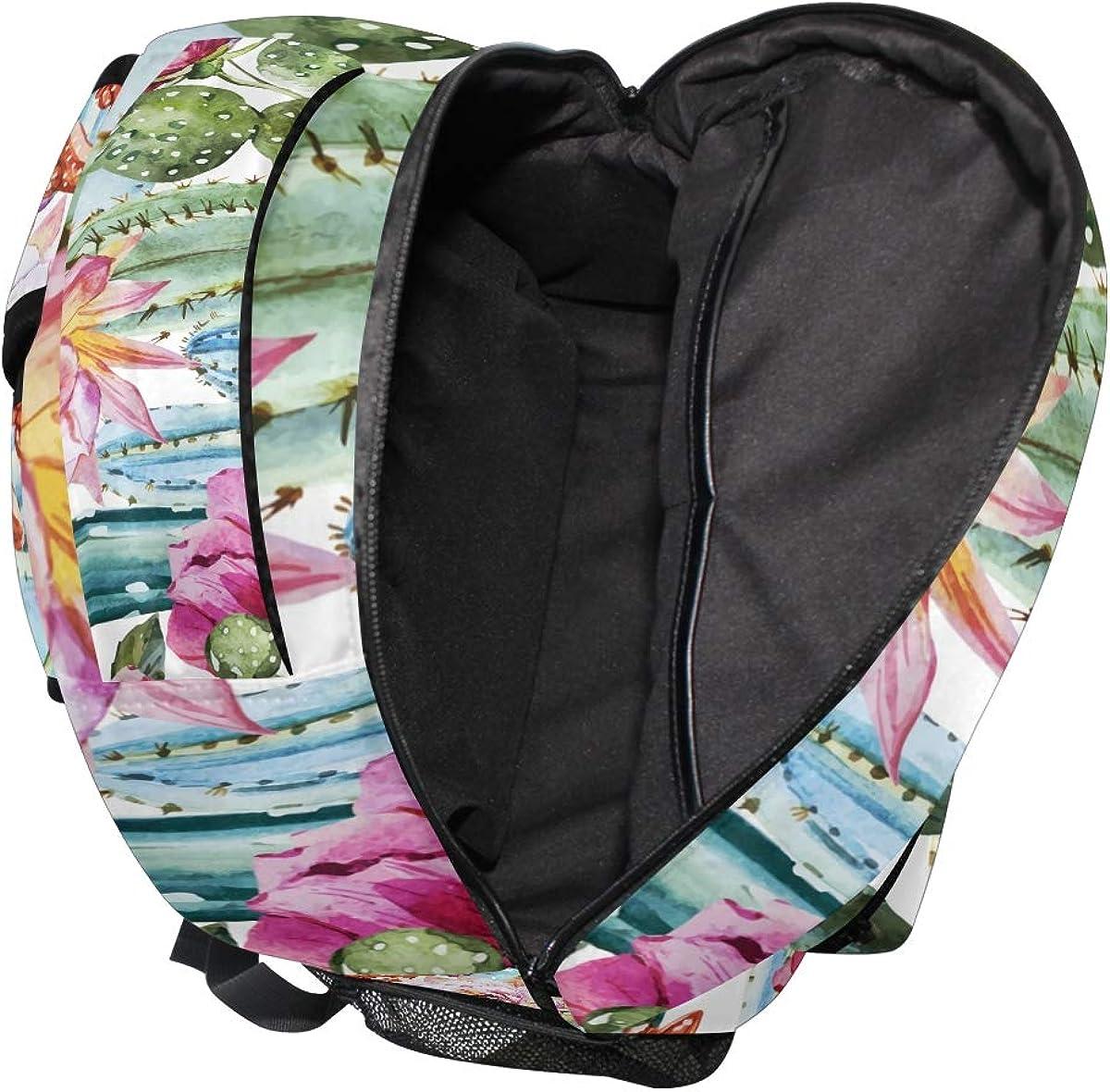 JOKERR Backpack Tropical Cactus Flower Large Capacity Casual Printed Shoulder Bag Daypack Travel Laptop Women Adults Boys Girls