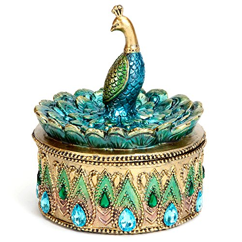 Bits and Pieces - Beautiful Peacock Trinket Box - Keepsake and Jewelry Box (Circular Jewelry)